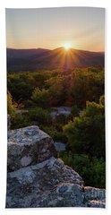 Sunset, Mt. Battie, Camden, Maine 33788-33791 Beach Towel
