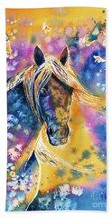 Beach Towel featuring the painting Sunset Mustang by Zaira Dzhaubaeva