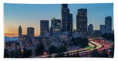 Sunset Night-freeway Lights Beach Towel