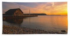 Sunset On Anderson's Dock - Door County Beach Sheet by Sandra Bronstein