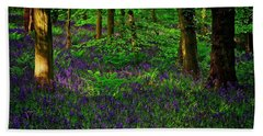 Sunset On Bluebells In Spring Beach Towel