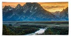 Sunset On Grand Teton And Snake River Beach Sheet by Gary Whitton