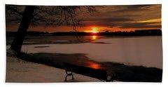 Sunset On Lake Quanapowitt Beach Towel