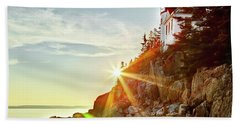 Ocean Sunset On Maine's Bass Harbor Lighthouse Beach Towel