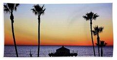 Sunset On Manhattan Beach Pier Beach Towel
