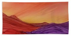 Sunset On Red And Purple Hills Beach Towel