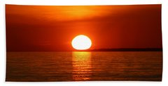 Sunset On Superior Beach Towel by Paula Brown