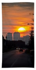 Sunset On The City Beach Towel by Carolyn Marshall