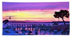 Sunset On The Docks Beach Towel