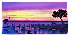 Sunset On The Docks Beach Sheet