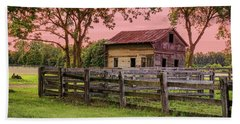 Beach Towel featuring the photograph Sunset On The Farm by Mary Timman