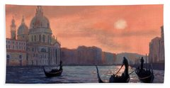 Beach Towel featuring the painting Sunset On The Grand Canal In Venice by Janet King