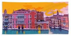 Sunset On The Grand Canal Venice Beach Towel