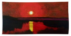 Beach Towel featuring the painting Sunset On The Lake by Donald J Ryker III