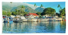 Sunset On The Marina Lahaina Harbour Maui Hawaii Beach Towel