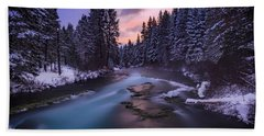 Beach Towel featuring the photograph Sunset On The Metolius by Cat Connor