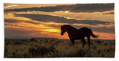 Sunset On The Mustang Beach Towel