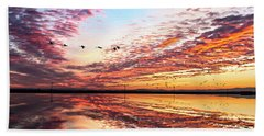 Sunset On The Pacific Flyway Beach Sheet