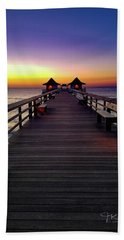 Sunset On The Pier Beach Sheet by TK Goforth