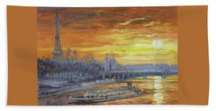Sunset On The Seine, Paris Beach Towel
