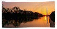 Sunset On The Washington Monument & Beach Towel by Panoramic Images