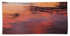 Sunset On Water Beach Towel by Theresa Tahara
