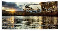 Sunset On Webster Lake  Beach Towel