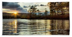 Sunset On Webster Lake  Beach Towel