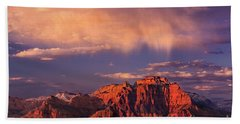 Sunset On West Temple Zion National Park Beach Towel by Dave Welling