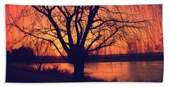 Sunset On Willow Pond Beach Towel