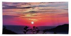 Sunset On Zihuatanejo Bay Beach Towel