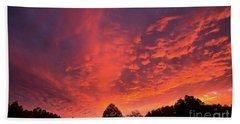 Sunset Over A Maine Farm Beach Towel by Alana Ranney