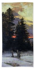 Sunset Over A Winter Landscape Beach Towel