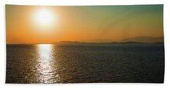 Sunset Over Aegean Sea Beach Sheet by Milena Ilieva