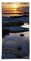 Sunset Over Boothbay Harbor Maine  -23095-23099 Beach Sheet
