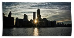 Sunset Over Chicago Skyline And Lake Michigan Beach Towel
