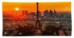 Sunset Over Eiffel Tower Beach Sheet