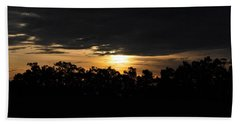 Sunset Over Farm And Trees - Silhouette View  Beach Towel