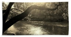 Sunset Over Flat Rock River - Southern Indiana - Sepia Beach Towel