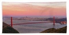 Sunset Over Golden Gate Bridge And San Francisco Skyline Beach Towel