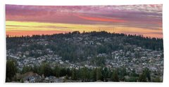 Sunset Over Happy Valley Residential Neighborhood Beach Towel