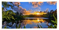 Sunset Over Hidden Lake In Jupiter Florida Beach Sheet by Justin Kelefas