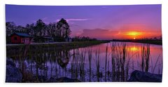Sunset Over Hungryland Wildlife Management Area Beach Sheet by Justin Kelefas