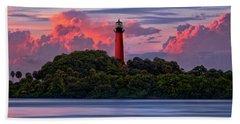 Sunset Over Jupiter Lighthouse, Florida Beach Towel by Justin Kelefas