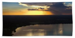 Beach Towel featuring the photograph Sunset Over Lake by Carolyn Marshall
