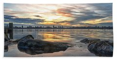 Sunset Over Lake Kralingen  Beach Towel by Frans Blok