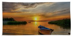 Sunset Over Lake Beach Towel by Lilia D