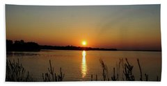 Sunset Over Lake Norman Beach Towel by B Wayne Mullins