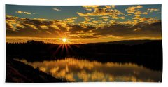 Sunset Over Lake Weiss Beach Towel by Barbara Bowen