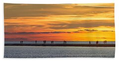 Beach Towel featuring the photograph Sunset Over Ludington Panoramic by Adam Romanowicz